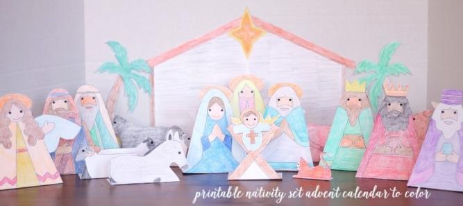 Printable nativity set advent calendar to color